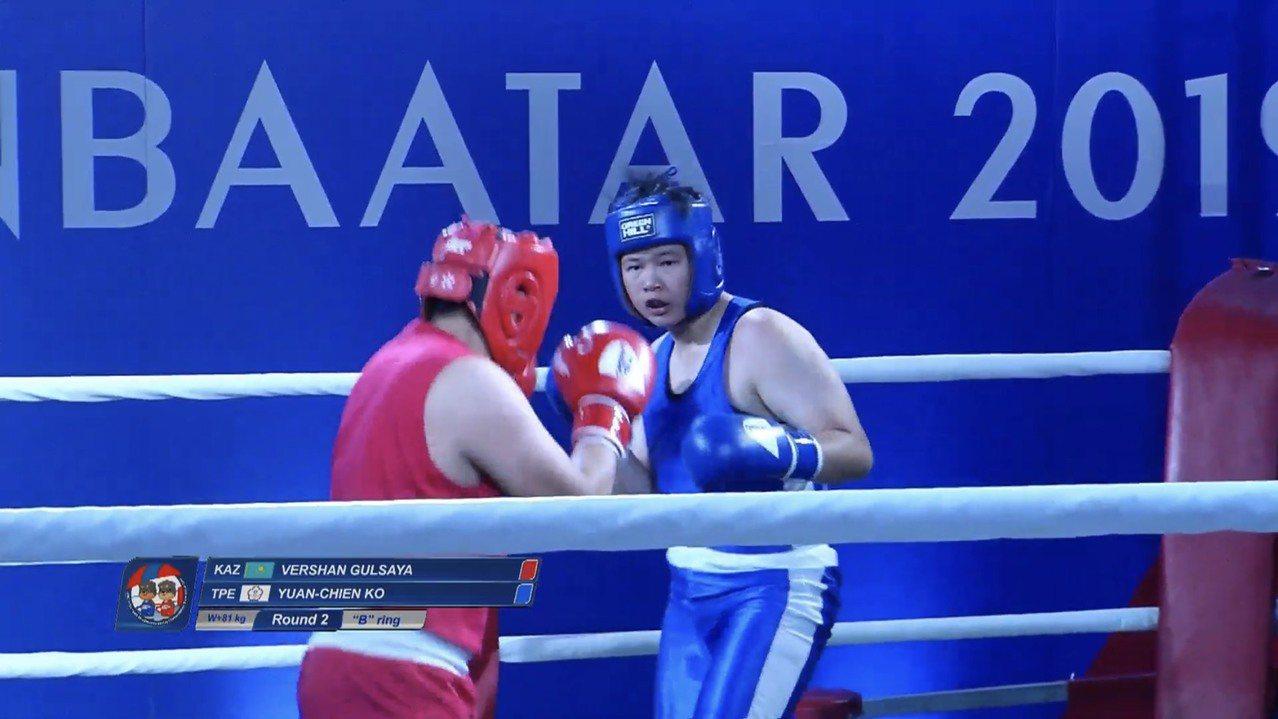 拳擊女將柯媛蒨(右)參加2019年亞洲青年拳擊錦標賽,在女子81公斤以上級項目奪...