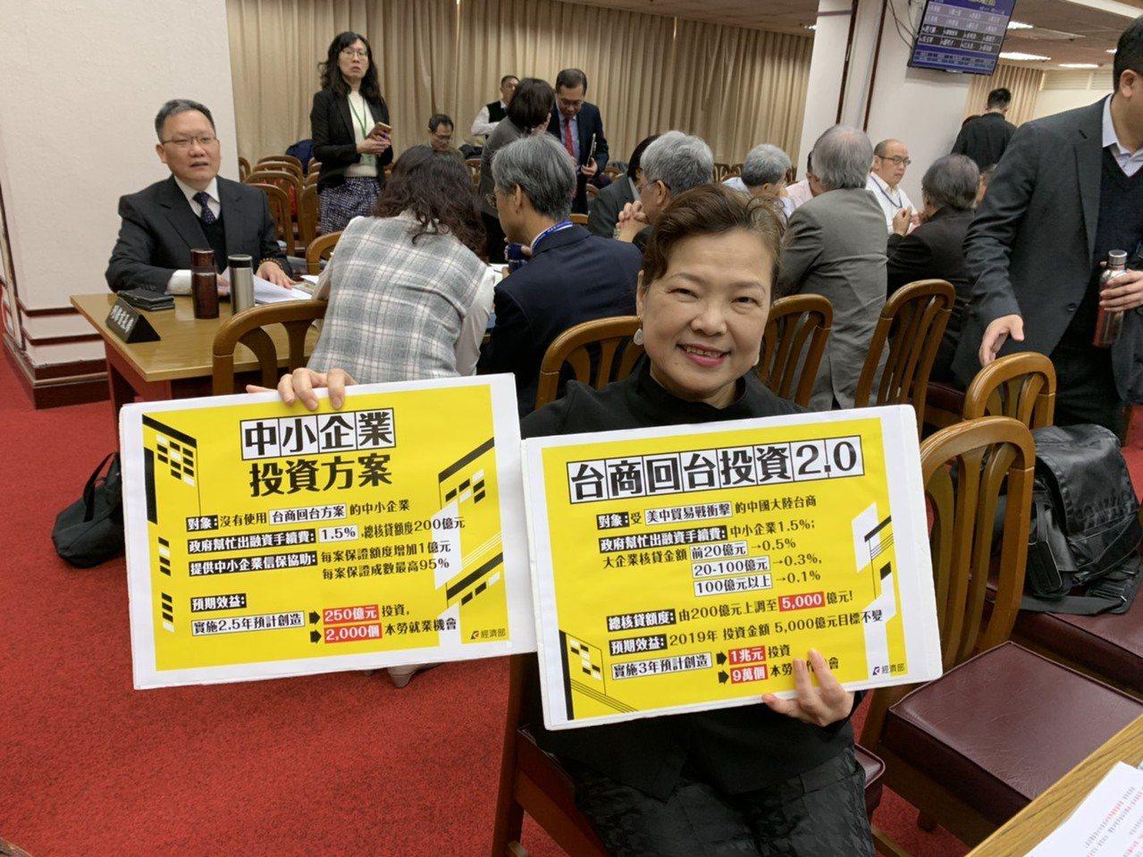 經濟部次長王美花拿出手板表示,投資台灣方案已經改了,改採分段補貼,前20億元只補...