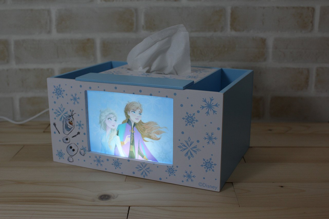 7-ELEVEN獨家販售的冰雪奇緣面紙夜燈收納盒,售價599元,11月20日上午...