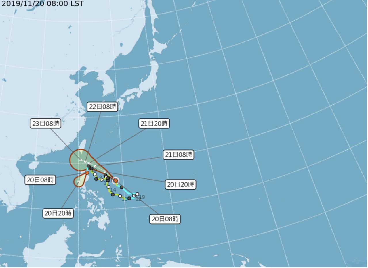 第27號颱風「鳳凰」(國際命名FUNG-WONG)明起到周六離台灣最近。圖/氣象...