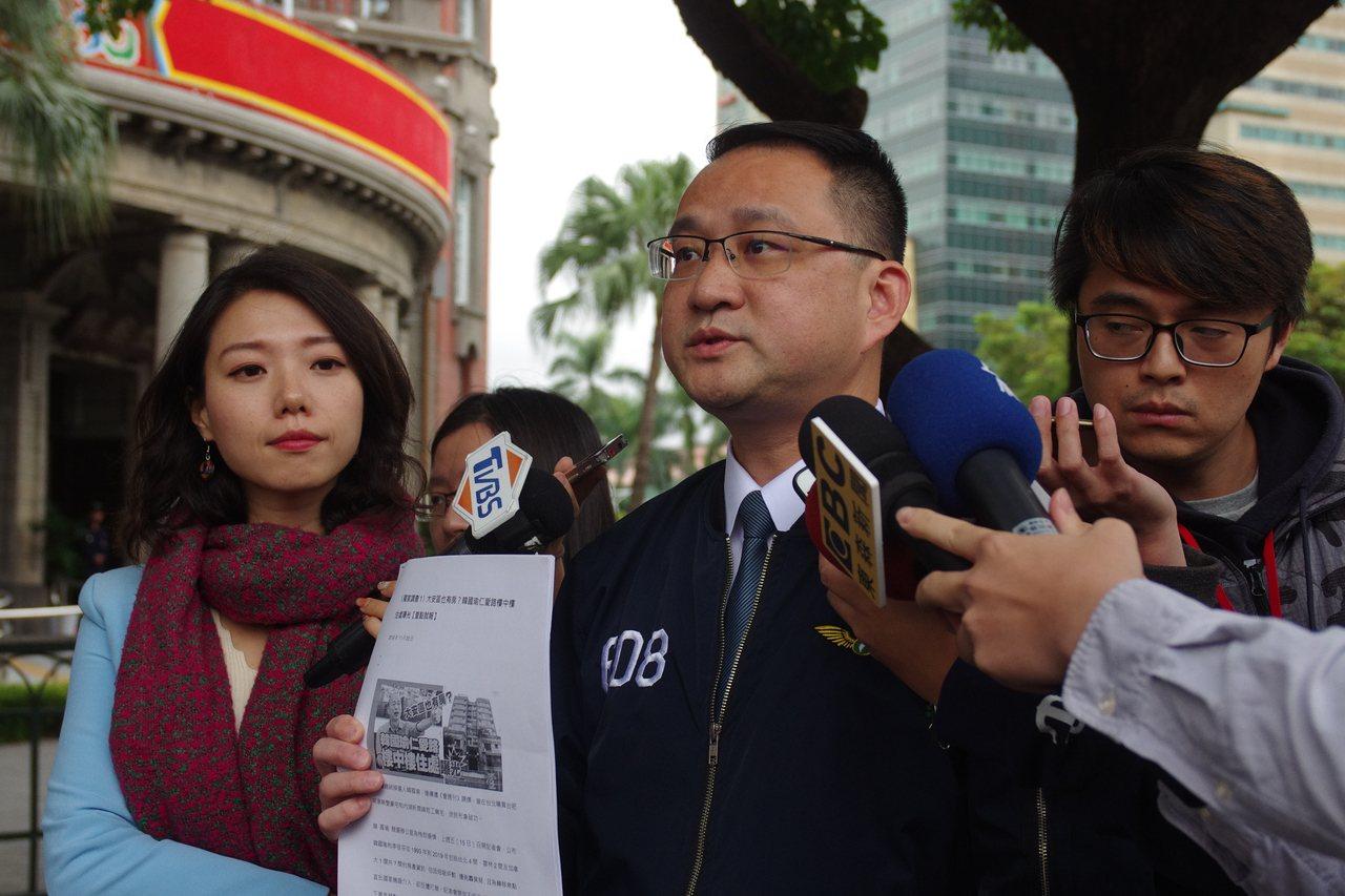 阮昭雄到監察院告發韓國瑜夫婦涉及違反公職財產申報。記者程嘉文/攝影