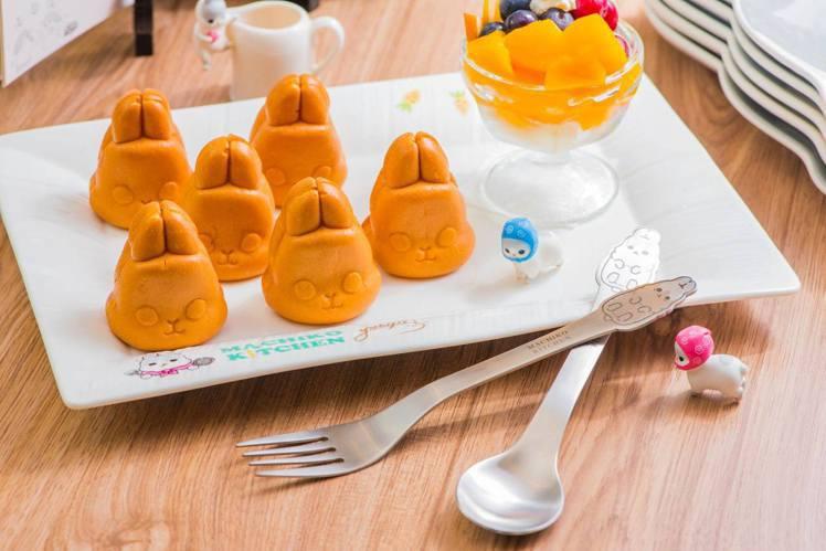 ㄇㄚˊ幾兔主題餐廳板橋店提供可愛的ㄇㄚˊ幾兔餐點,像是雞蛋糕、棉花糖等。圖/摘自...