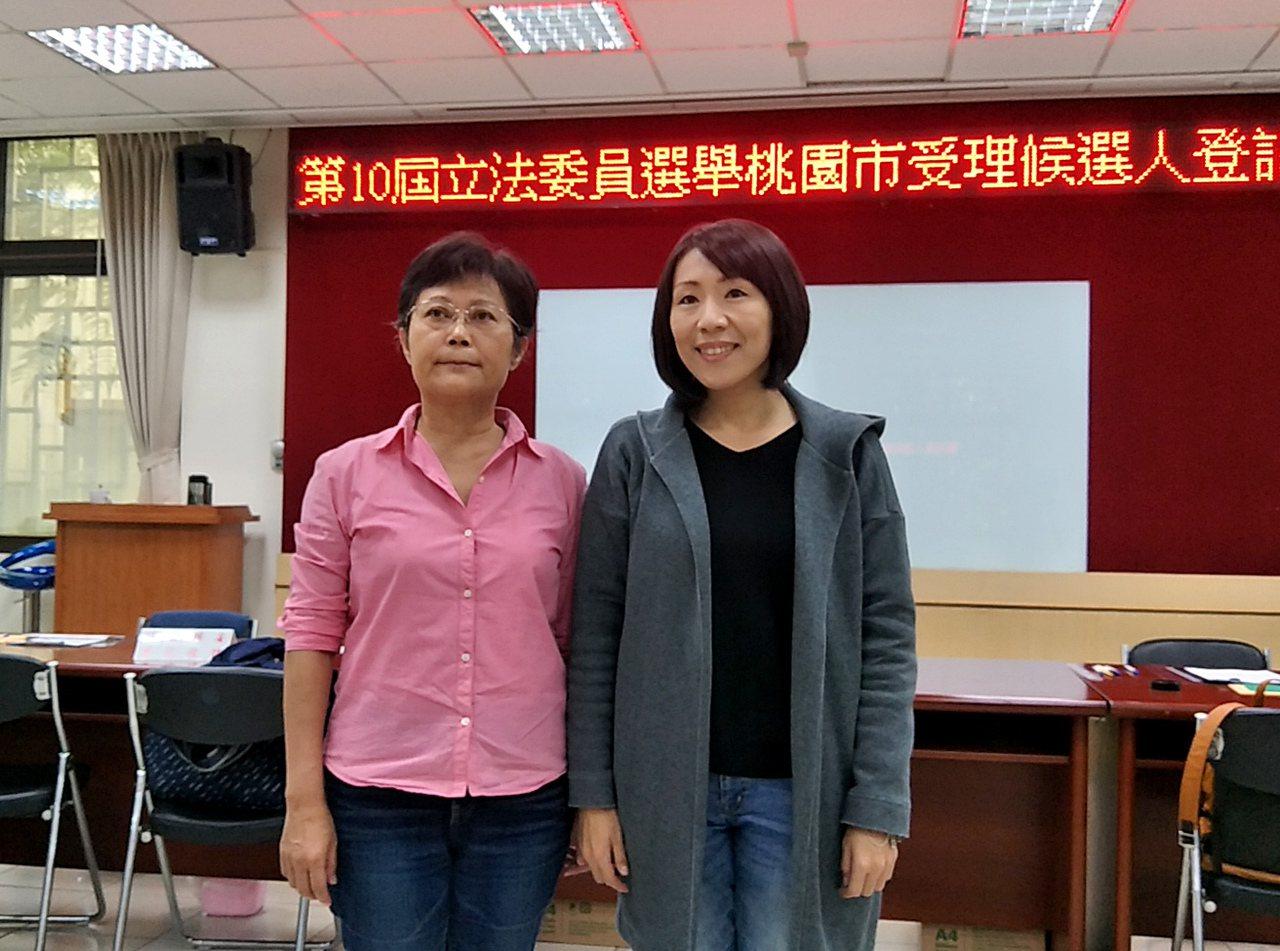 勞動黨參選人李中(右)、劉芳萍(左)分別登記參選第4、第5選區立委選戰。記者曾增...