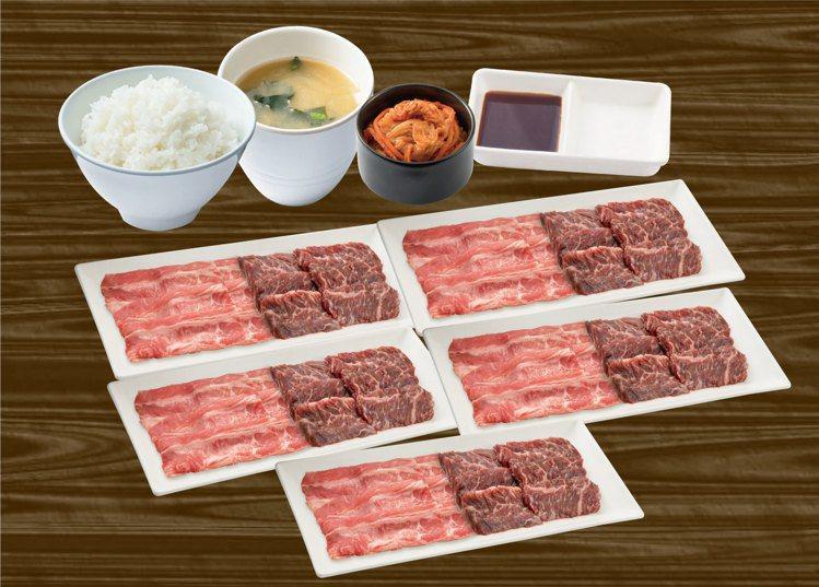 燒肉Like推出「人間試煉套餐」,內含5人份的牛五花、橫膈膜、白飯、泡菜、味噌湯...
