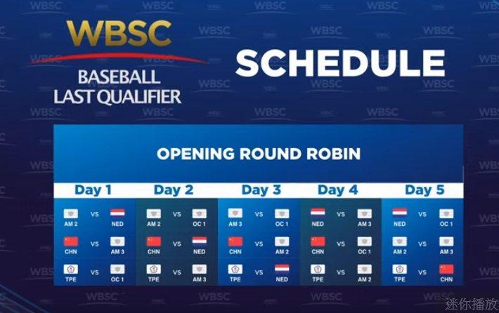 明年六搶一奧運資格賽公布賽程,各隊都打5連戰。圖/取自WBSC臉書