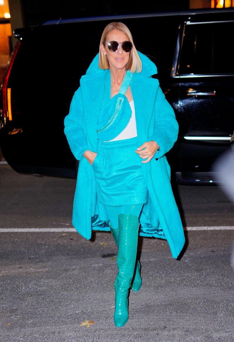 席琳狄翁穿著Max Mara泰迪熊大衣14萬1,800元,搭配同色短裙、腰包及長靴。圖/Max Mara提供