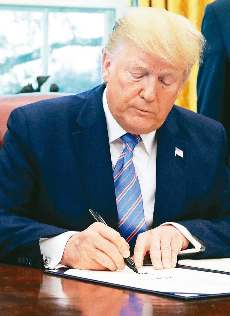 美國國會通過兩項香港法案,送交總統川普簽署。圖為川普簽名檔案照。 路透