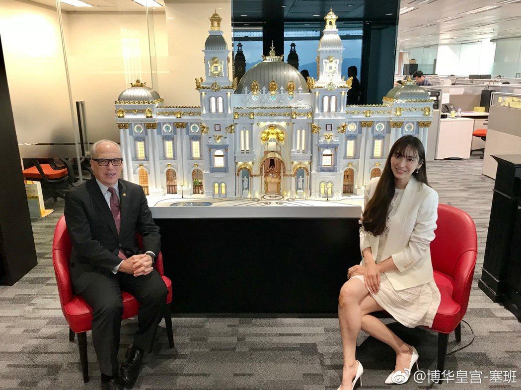 吳佩慈打理「塞班島博華皇宮」。圖/擷自微博