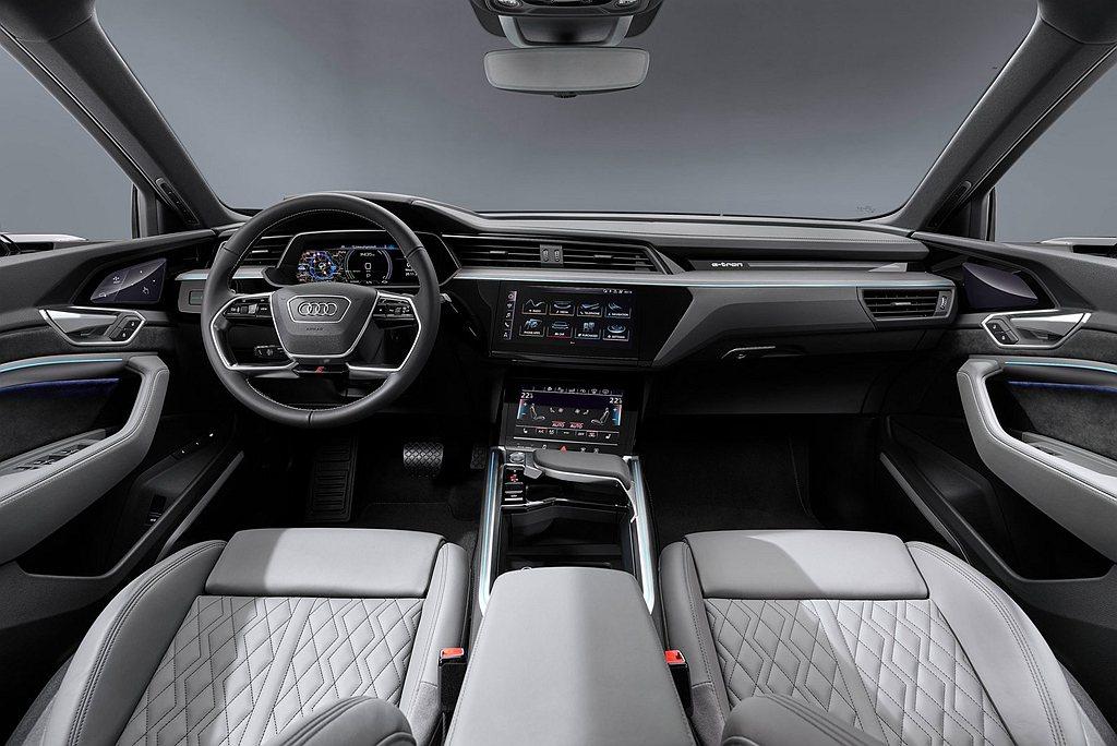Audi e-tron Sportback車室雙前座同樣採用三面高畫質螢幕,中央...