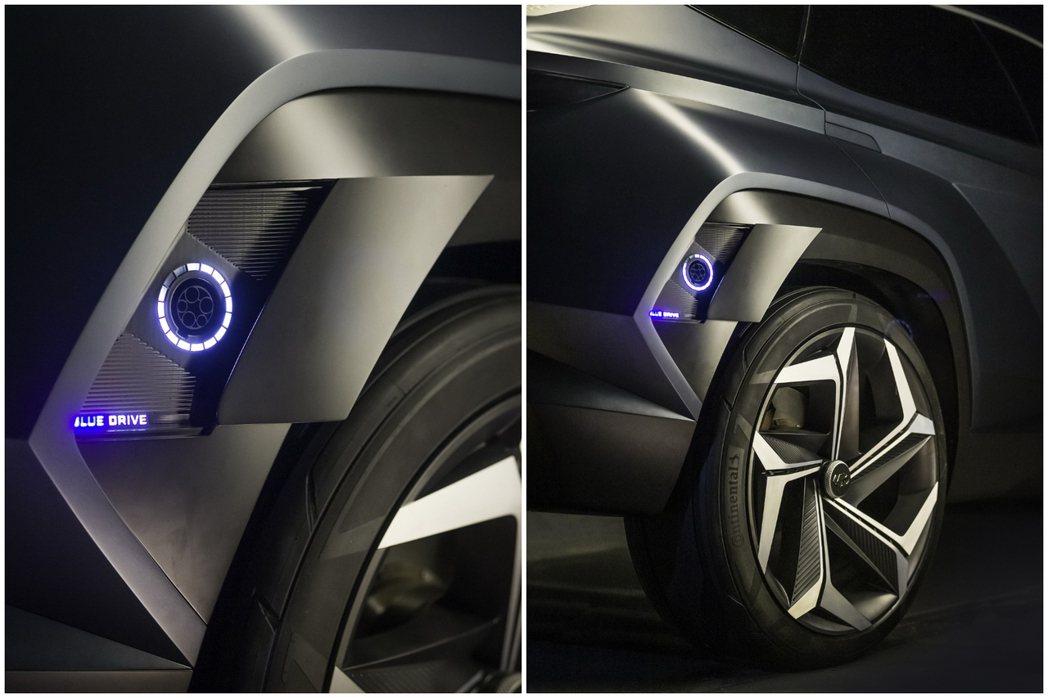 Hyundai Vision T Concept充電孔置於 摘自Hyundai