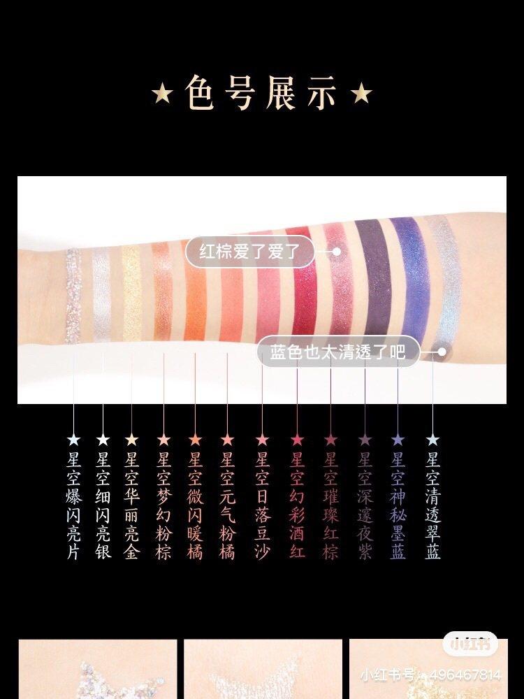 12星宮眼影盤全12色試色。圖/摘自微博圖/摘自小紅書