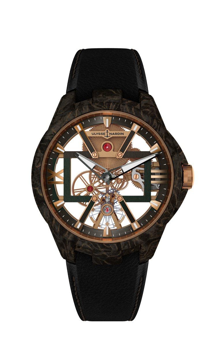 雅典錶,鏤空岩漿腕錶碳金款。因為僅留下必要機芯零件,錶面展現了強烈的通透視覺,約...