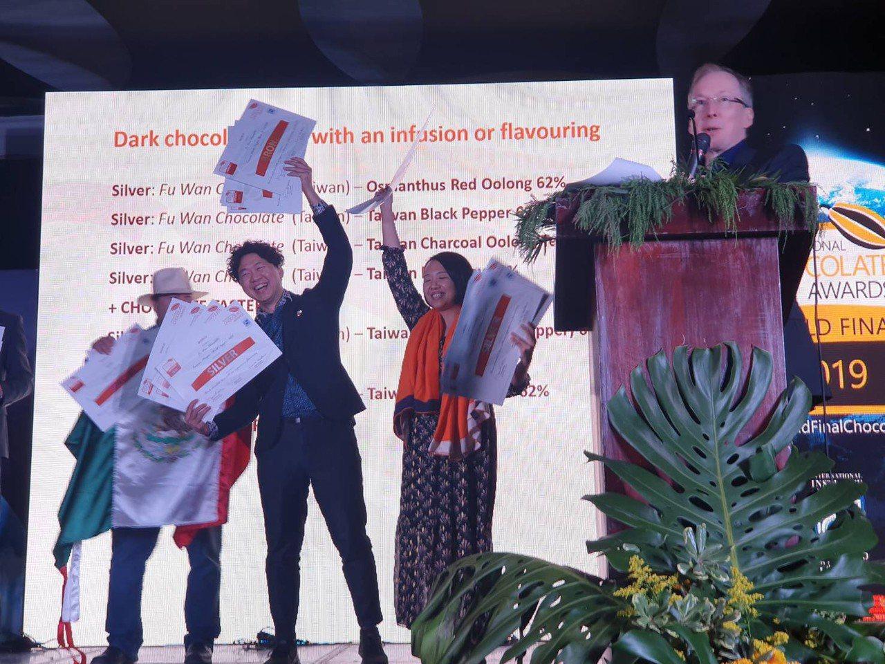 福灣巧克力於「世界巧克力大賽」一舉拿下18項大獎。圖/福灣巧克力提供