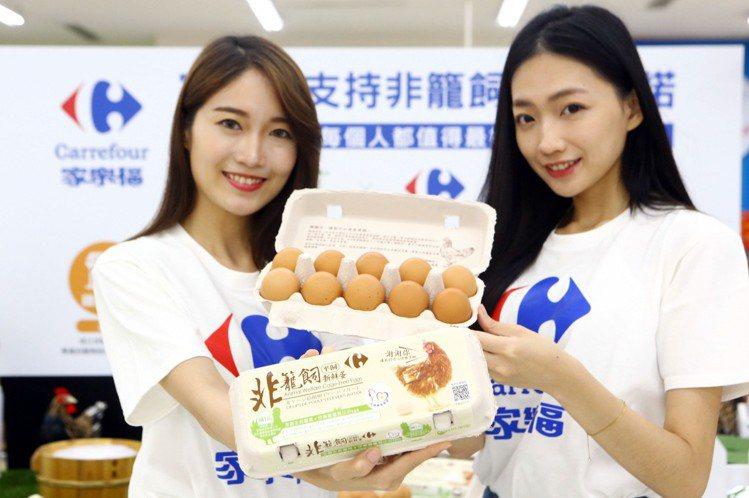 家樂福首推自有品牌非籠飼雞蛋,每賣一盒就捐一元給長年推動改善各項動物處境的台灣動...