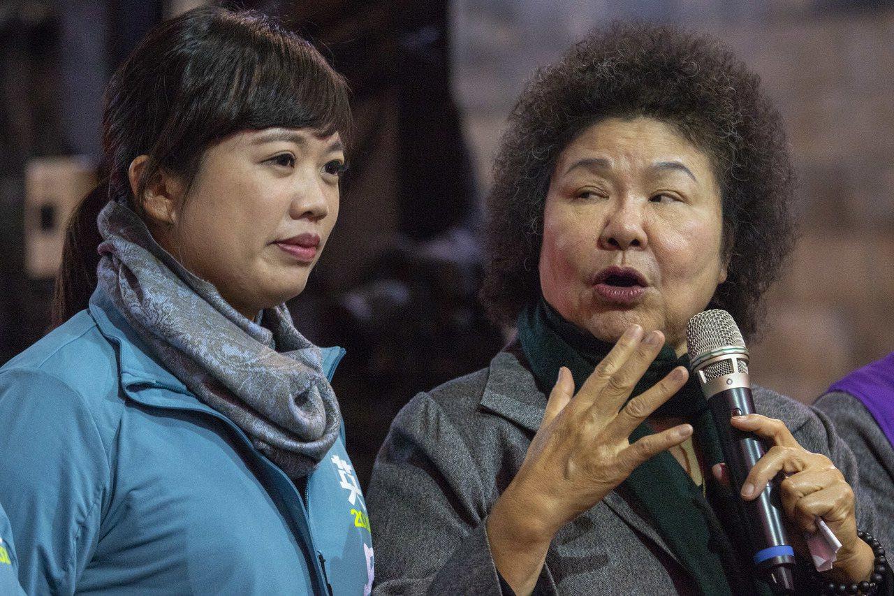 總統府秘書長陳菊(右)認為立委呂孫綾民調有贏,但贏的不是很多。記者王敏旭/攝影