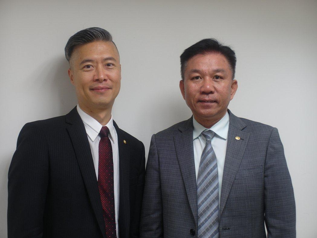 震旦行發言人馬志賢(左)與互盛電董事長廖慶章。記者何佩儒/攝影