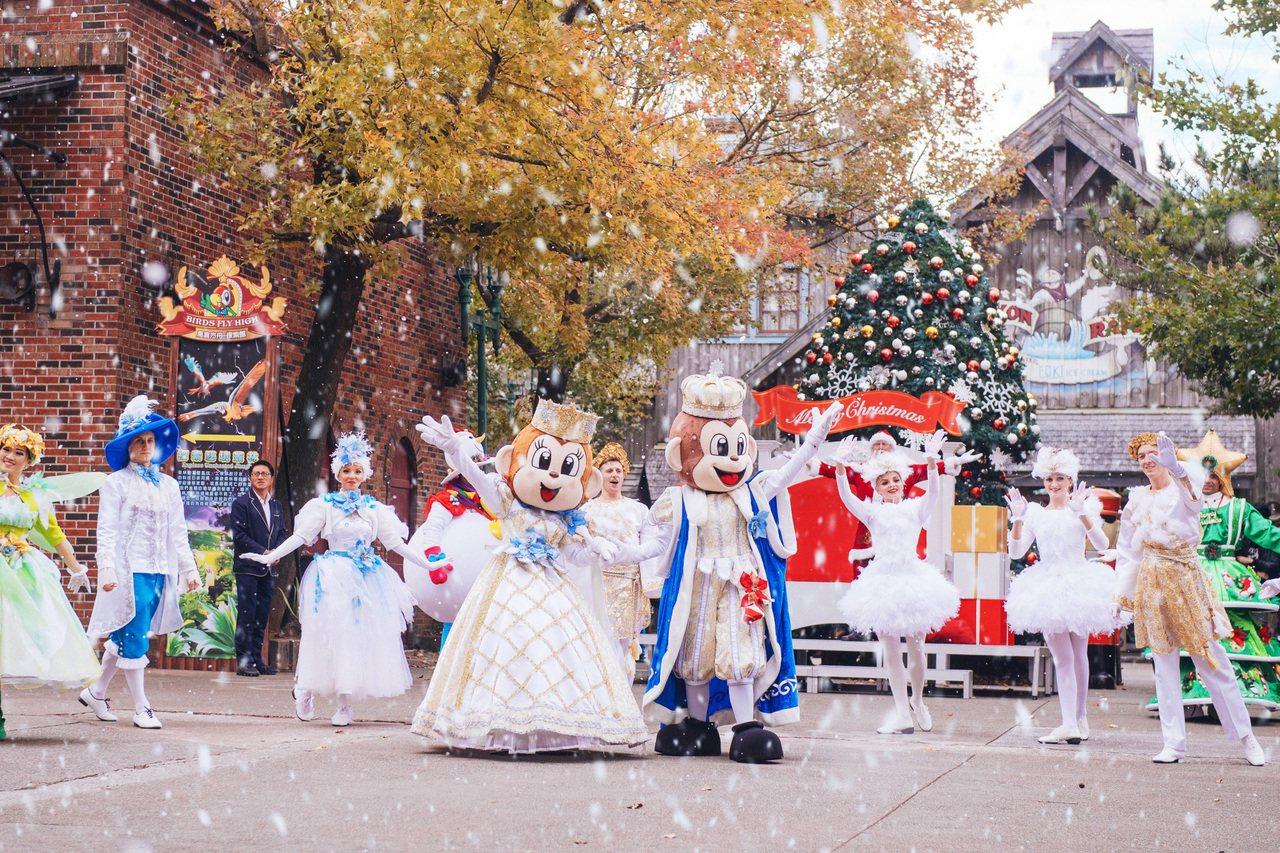 六福村「冰雪耶誕大遊行」充滿雪國浪漫氛圍。圖/六福村提供