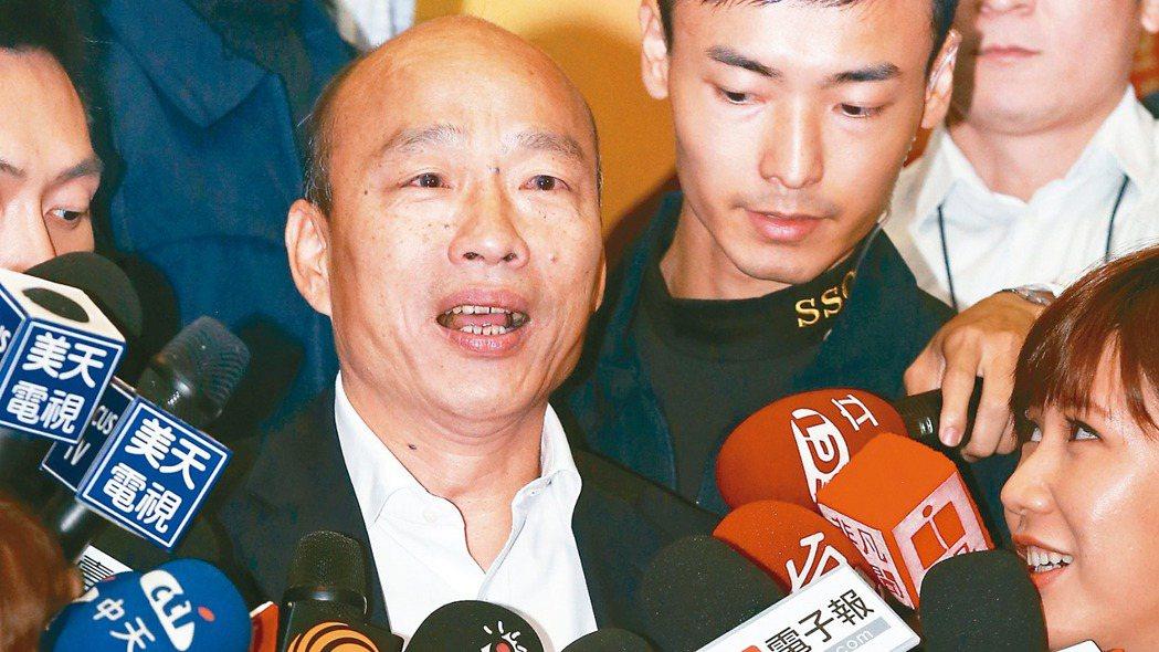 國民黨總統參選人韓國瑜(中) 記者林俊良/攝影