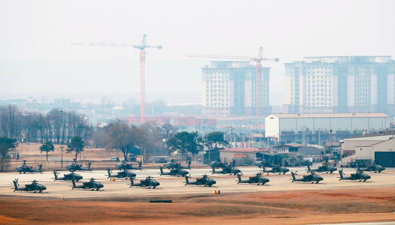 美軍在南韓平澤的基地「韓福瑞營」。 (法新社)