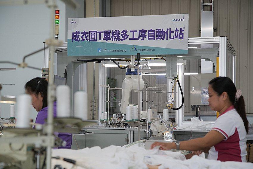 工研院與宏遠興建合作成衣圓T單機多工序自動化站,導入抗反光視覺辨識模組,可針對不...