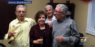 佛州陪審團判決,同性伴侶卡普利歐(左),因吸菸導致肺病變致死,雷諾菸草及菲利普莫里斯兩公司應賠償死者配偶林陶(右)1億5740萬元。(CBS邁阿密地方電視台截圖)