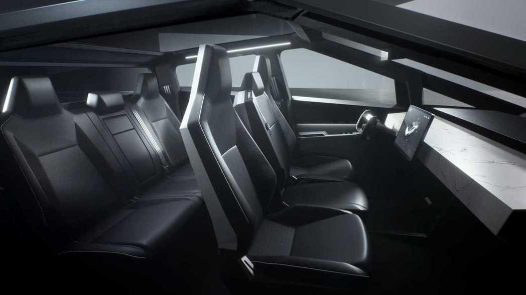 Tesla Cybertruck為一款6人座車型。 摘自Tesla