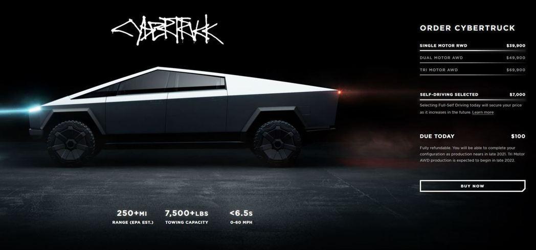 Tesla Cybertruck入門版本Single Motor RWD。 摘自...