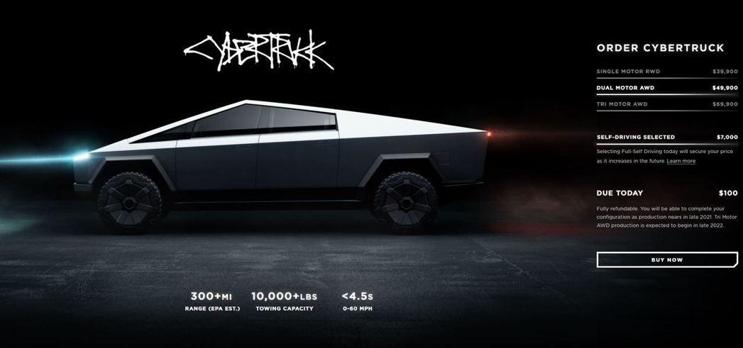 Tesla Cybertruck中階版本Dual Motor AWD。 摘自Te...