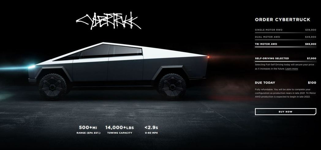 Tesla Cybertruck頂級版本Tri Motor AWD。 摘自Tes...
