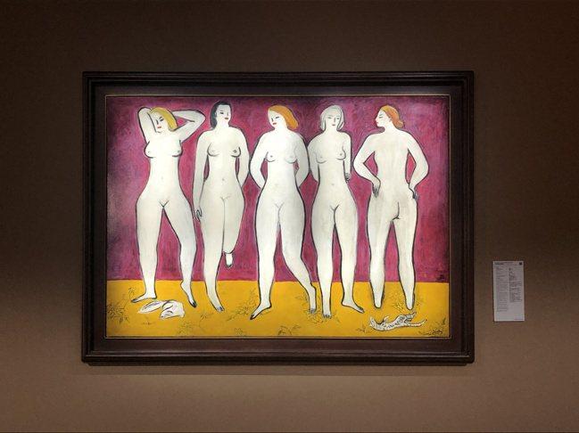 法國華裔畫家常玉人物數量最多的裸女油畫《五裸女》,是佳士得香港秋拍指標作品。攝影...
