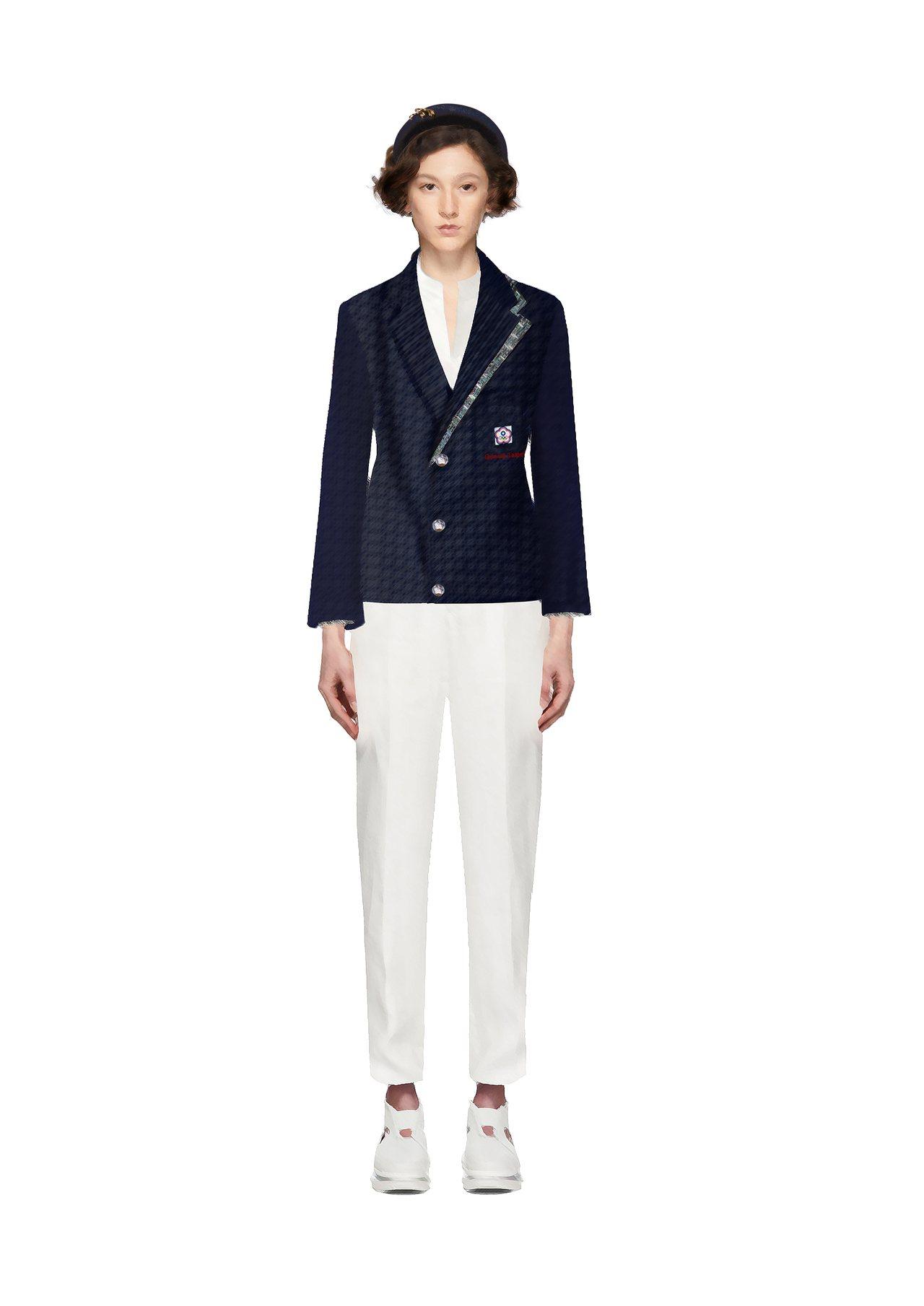 周裕影設計2020年東京奧運中華代表團進場服裝的設計圖。圖/JUST IN XX...