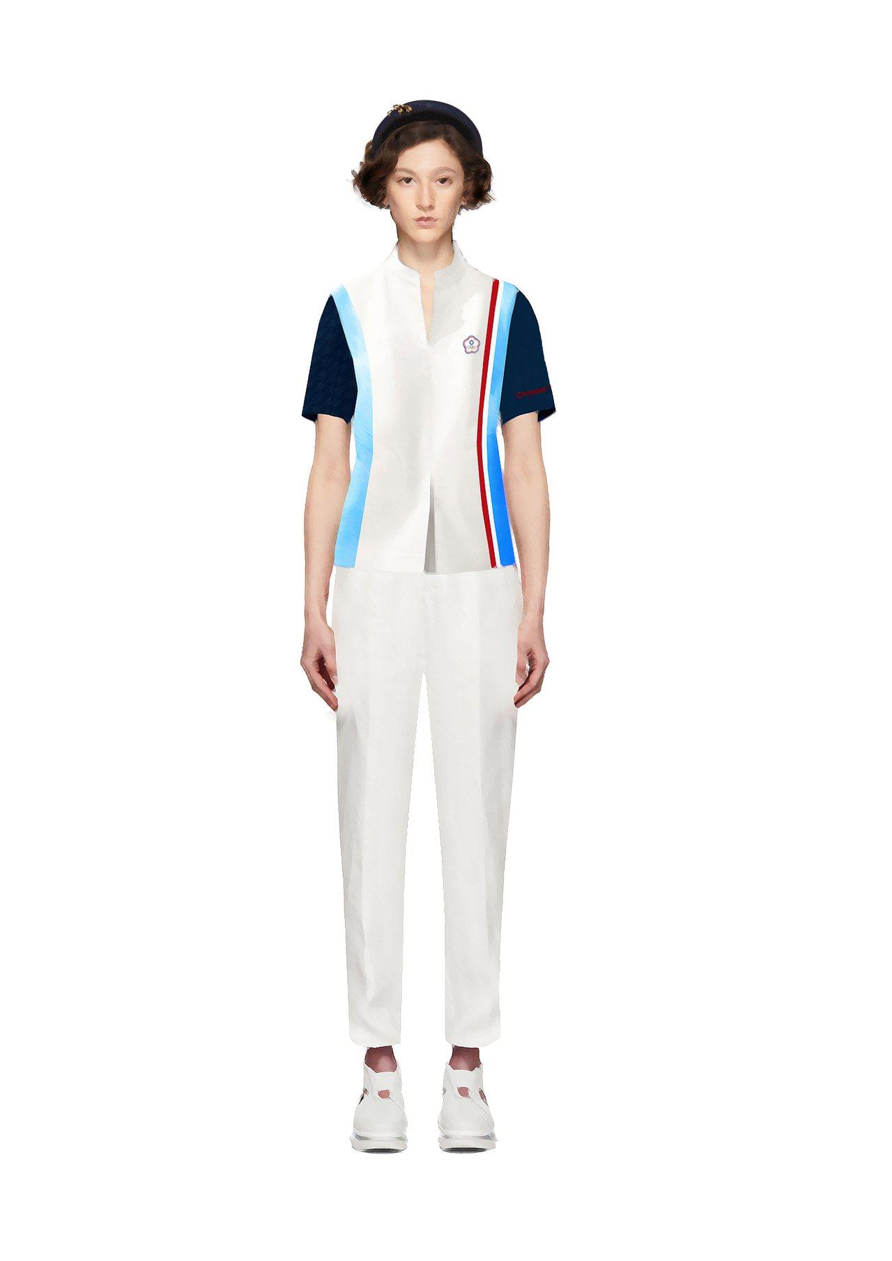 2020年東京奧運中華代表團進場服裝的女生款,在腰際、腹部都有做開衩細節設計帶來...