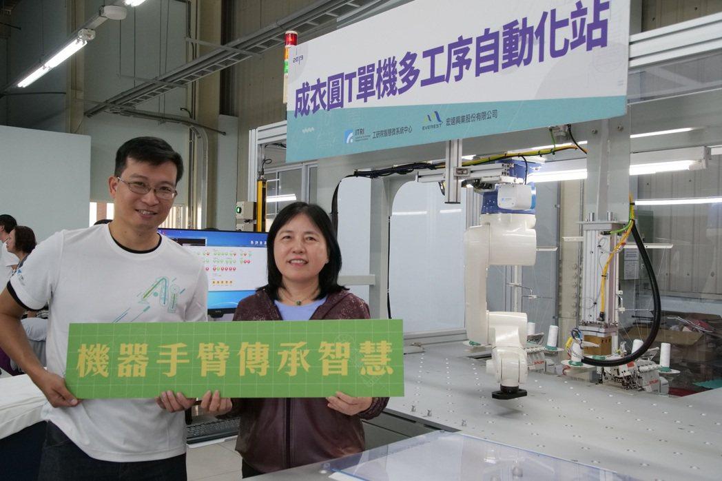 工研院今(22)日與紡織大廠宏遠興業宣布在台南建置完成「成衣單站多工序自動化站」...