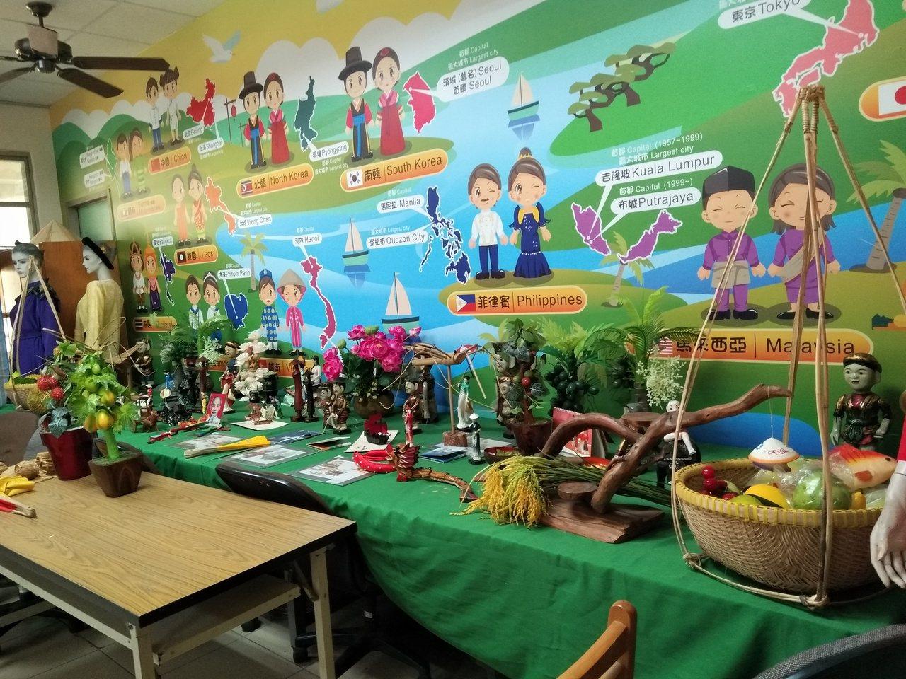 民雄鄉福樂國小的新住民文物多元文化館裡面收藏許多東南亞的童玩及國服等等,是小學生...