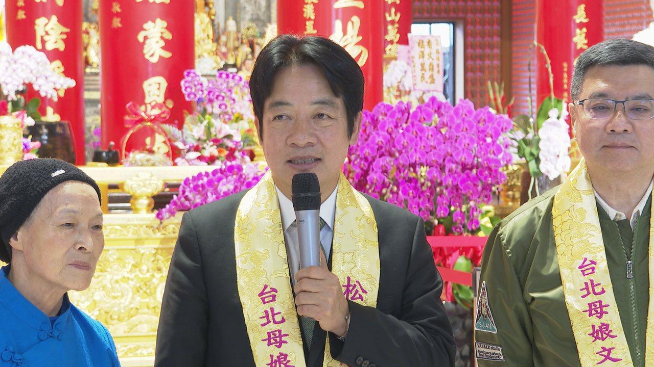 民進黨副總統參選人賴清德下午到松山慈惠堂參香。記者王彥鈞攝影