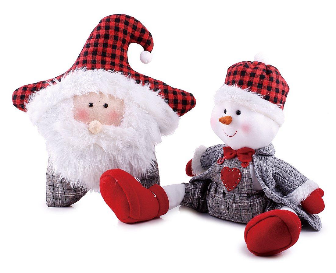 HOLA特力和樂耶誕老人星型抱枕43cm,特價319元;耶誕雪人一字腿擺飾30c...
