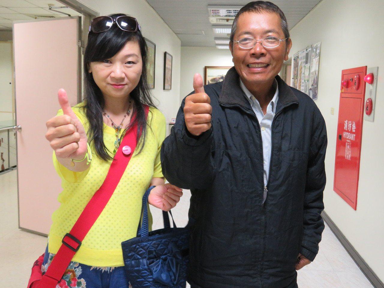 喜樂島聯盟立委參選人黃俊雄(右)許韶珍(左)。圖/聯合報資料照片