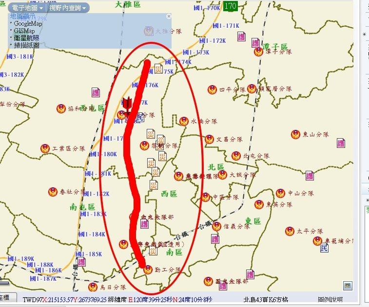 台中市消防局今天下午4點41分起,半小時內連續接獲11通瓦斯外洩通報案,各消防分...