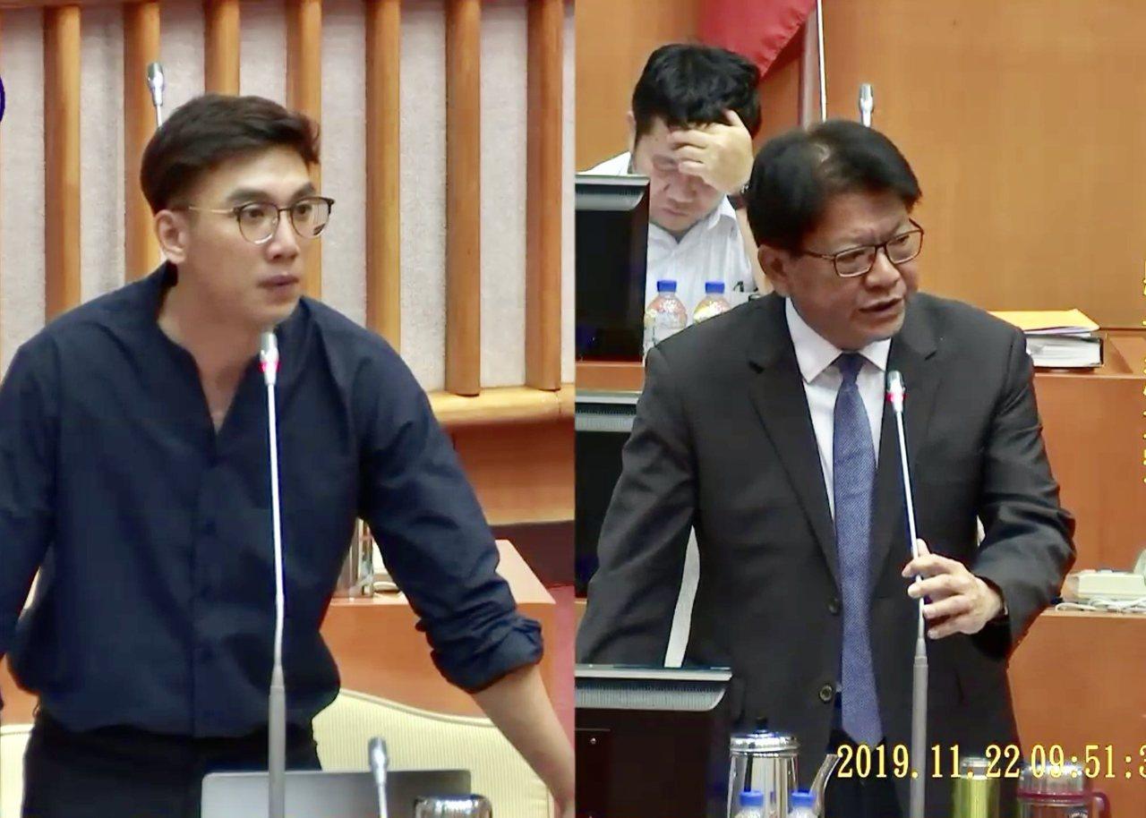 屏東縣議員陳揚(左)指出,屏東青創基地店家每月平均淨利僅1.5萬,比最低基本工資...