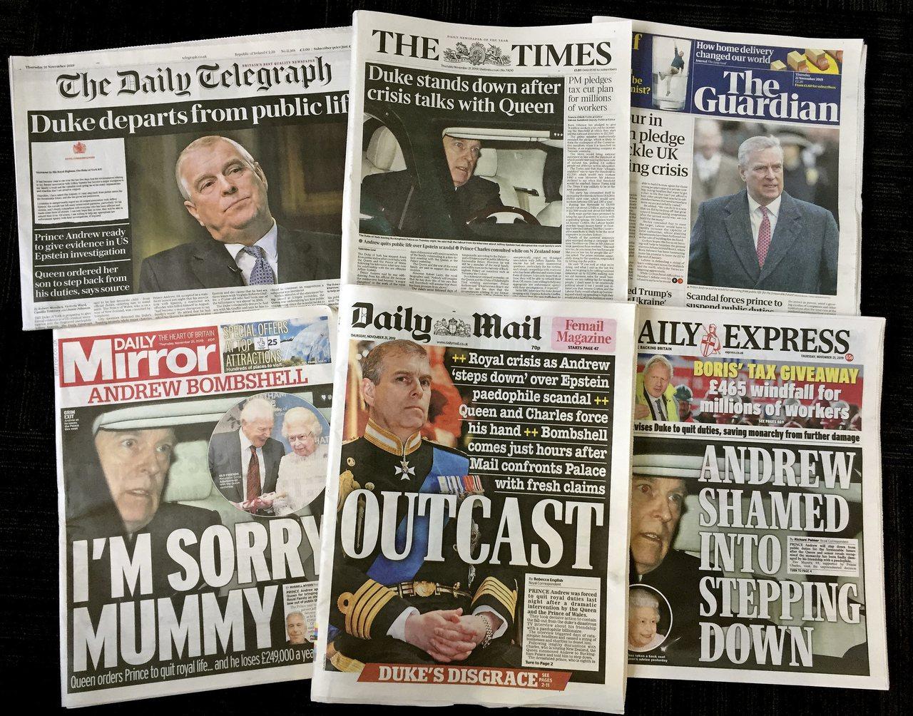 英國安德魯王子的專訪成為各小報的八卦焦點。美聯社