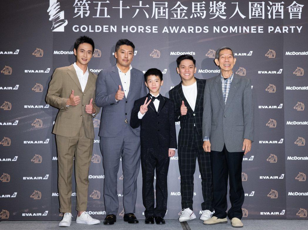 金馬獎最佳男配角入圍人選劉冠廷、段鈞豪、李英銓、許家樂以及楊世彬。記者季相儒攝