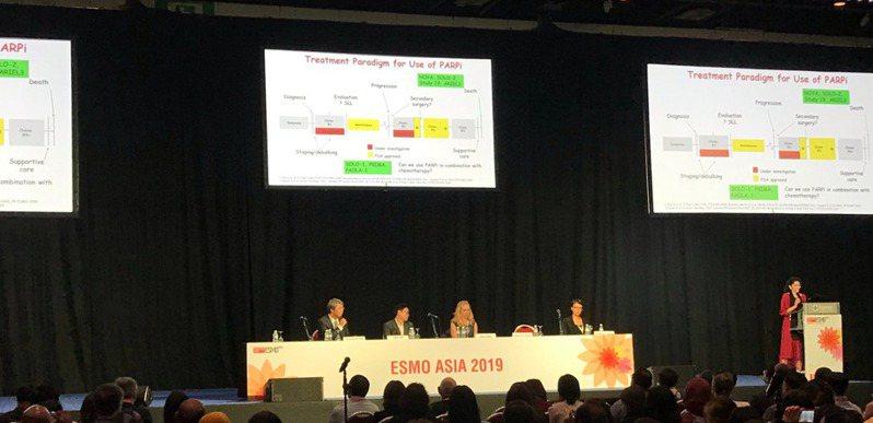 歐洲腫瘤內科學會亞洲年會22日起在新加坡展開一連串癌症治療研討會,居里癌症中心教授謝惠光(左二)針對卵巢癌治療進行專題演講。記者李樹人/攝影