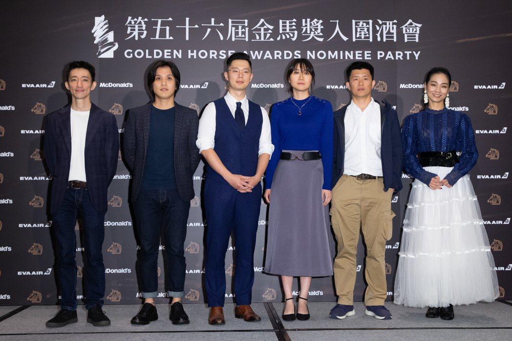 入圍最佳新導演獎《返校》徐漢強(由左至右)、《狂徒》洪子烜、《聖人大盜》徐嘉凱、...
