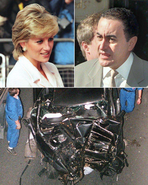黛安娜王妃(左上)和男友法耶德(右上)1997年車禍去世,當時消息震驚全球。 (...
