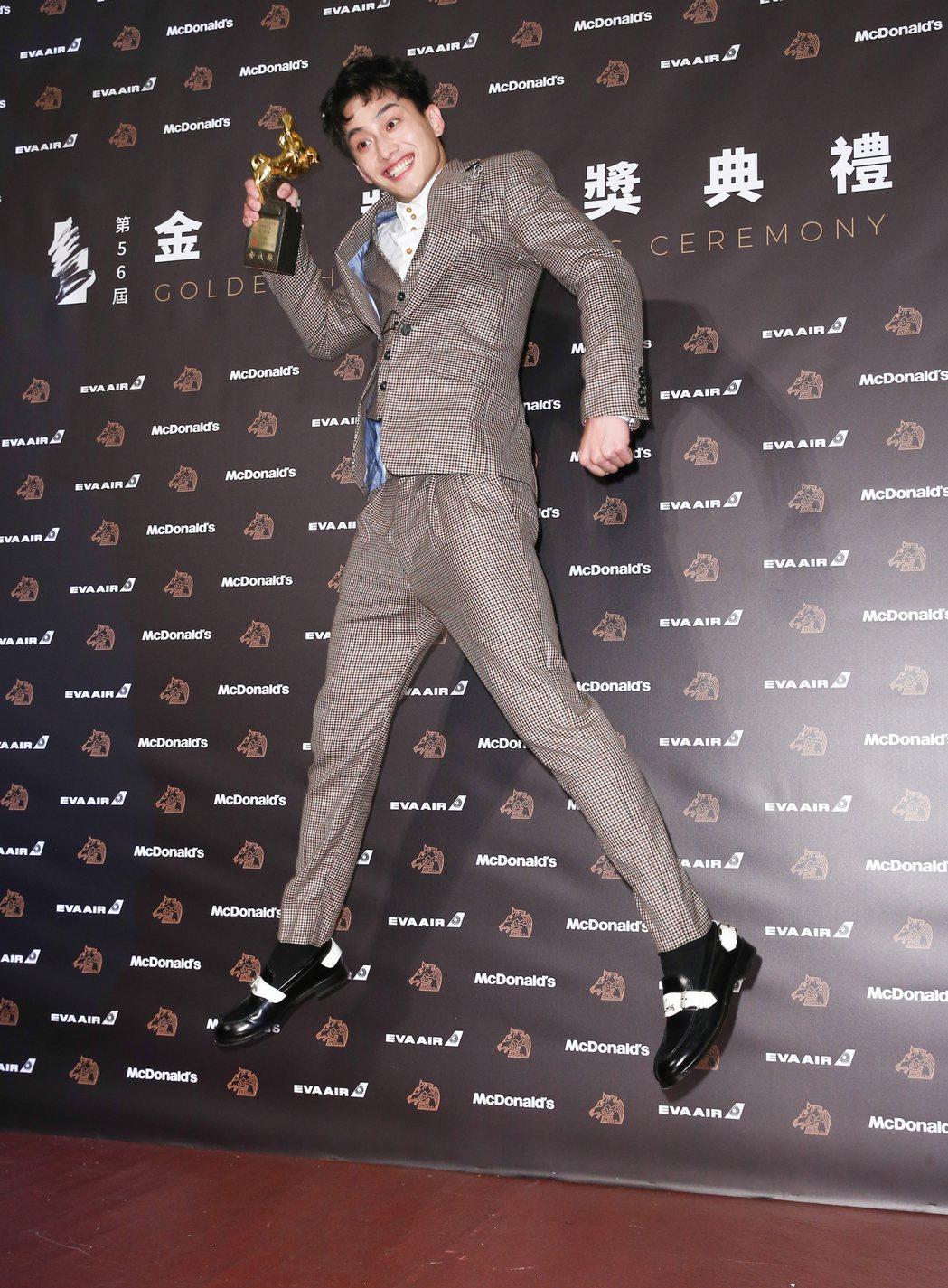 第56屆金馬獎頒獎典禮,范少勳以下半場獲得最佳新演員獎。記者曾原信/攝影