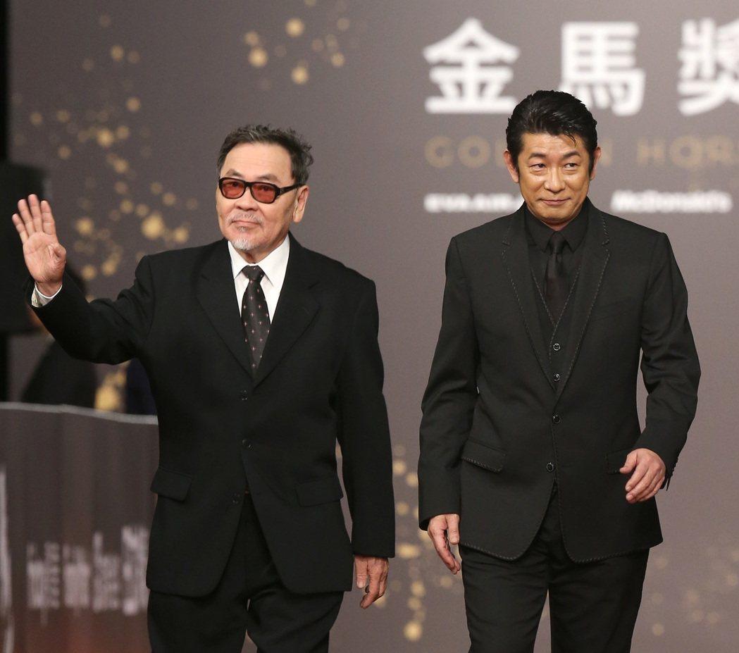 王童(左)與永瀨正敏走星光大道。記者陳立凱/攝影