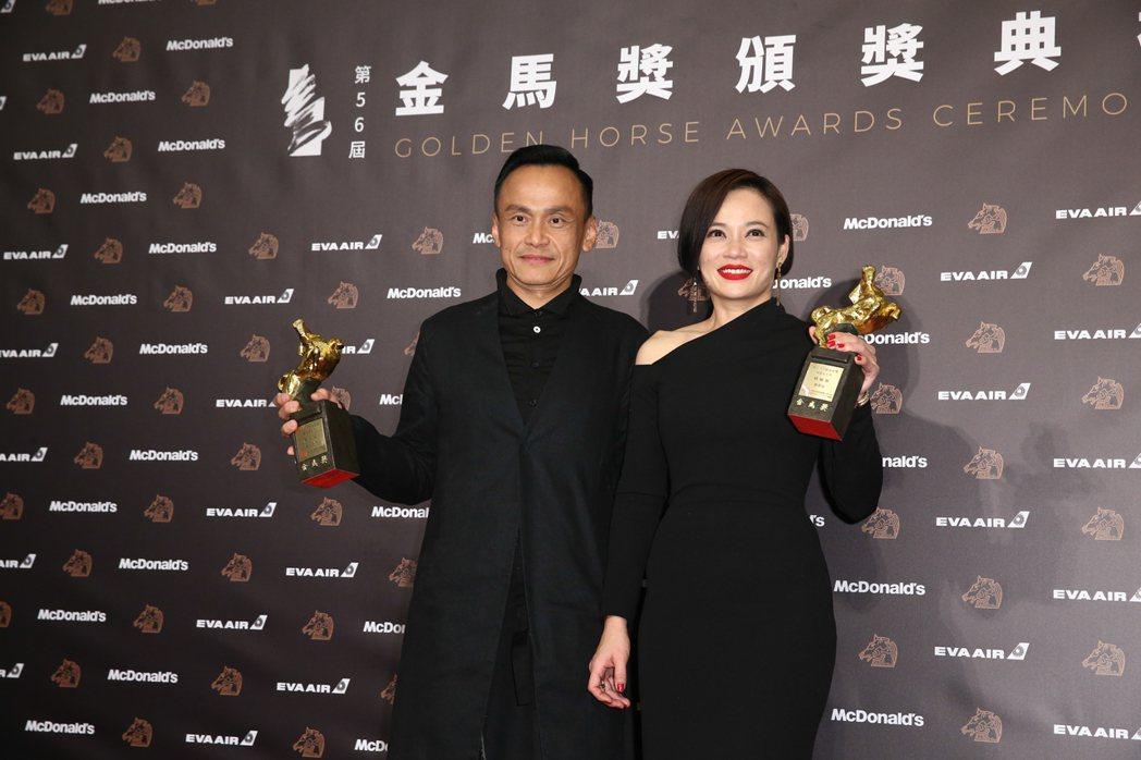 陳以文(左)、楊雁雁(右)獲第56屆金馬獎最佳男女主角獎。記者曾原信/攝影