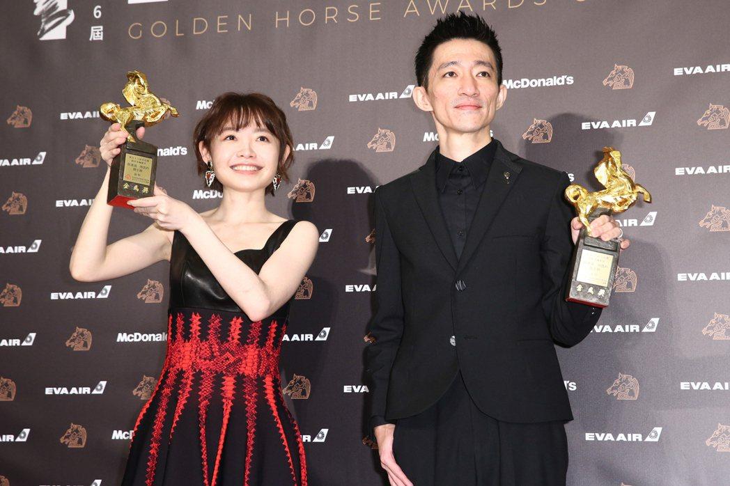 第56屆金馬獎頒獎典禮,返校獲頒最佳改編劇本獎。記者曾原信/攝影