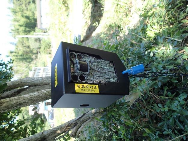 記錄石虎的紅外線自動照相機。圖/苗栗縣政府提供