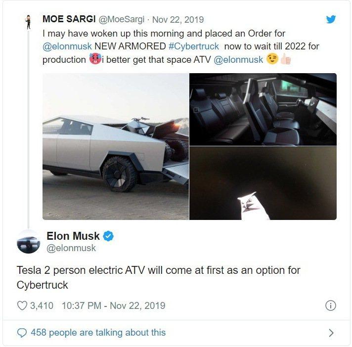 Elon Musk在Twitter上對Cyberquad做了進一步的介紹。 ...